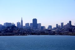 Panorama of San Francisco and Bay Bridge taken from Treasure Island Stock Photos
