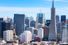 Panorama of San Francisco downtown skyscrapers Stock Photos