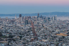 Panorama of San Francisco Night Cityscape During the Blue Hour After Sunset Taken at Twin Peaks. San Francisco, in northern California, is a hilly city on the Stock Photo