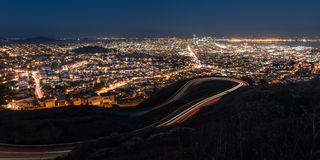 Panorama of San Francisco Night Cityscape During the Blue Hour After Sunset Taken at Twin Peaks. San Francisco, in northern California, is a hilly city on the Royalty Free Stock Photo