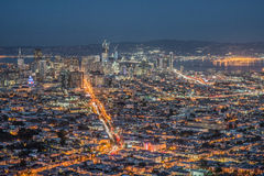 Panorama of San Francisco Night Cityscape During the Blue Hour After Sunset Taken at Twin Peaks. San Francisco, in northern California, is a hilly city on the Royalty Free Stock Images