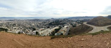 Panorama of San Francisco from Twin Peaks. Panorama of San Francisco, California from above from the Twin Peaks scenic viewpoint overlooking the city, San Royalty Free Stock Photography