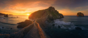 Panorama of San juan de Gaztelugatxe in Basque Country Royalty Free Stock Images
