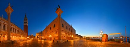Panorama of San Marco square at dawn, Venice, Italy. Breathtaking panoramic view of medieval square in early morning stock photography