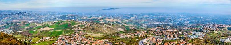 Panorama of San Marino and Italy Stock Image