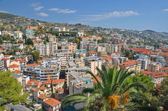 Panorama of San Remo, Italy. View of the city San Remo, Italy, bright Sunny day Royalty Free Stock Photo