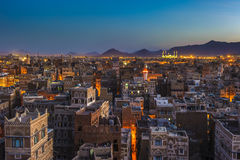 Panorama of Sanaa at night, Yemen Stock Photography