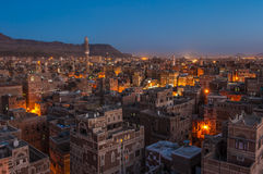Panorama of Sanaa at night, Yemen Stock Photos