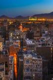 Panorama of Sanaa at night, Yemen Stock Image