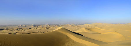 Panorama of Sand Dune Desert in Peru Royalty Free Stock Photos