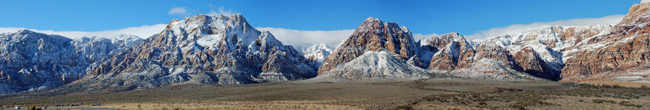 Panorama of Sandstone Bluffs during the winter. Sandstone Bluffs are part of the Red Rock Canyon National Conservation west of Las Vegas Nevada. The great Stock Photo