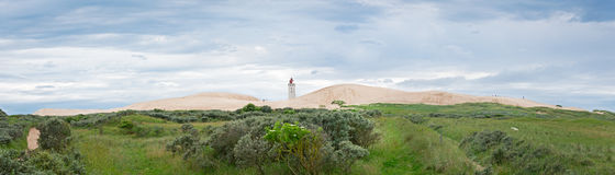 Panorama of the sandy dunes with the abandoned lighthouse of Rub Stock Photography