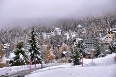Panorama Sankt Moritz Świątobliwy Moritz, San Maurizio fotografia stock