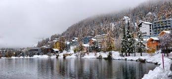 Panorama Sankt Moritz Świątobliwy Moritz, San Maurizio obraz royalty free