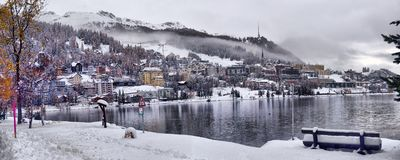 Panorama of Sankt Moritz Saint Moritz, San Maurizio town in E royalty free stock images