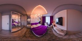 panorama sans couture de l'illustration 3d de conception intérieure de chambre à coucher Photos libres de droits