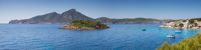 Panorama of Sant Elm Bay Stock Images