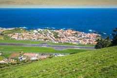 Panorama of Santa Cruz on the island of Flores Azores Portugal Stock Photo