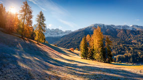 Panorama of the Santa Maddalena village`s slopes in front of the Royalty Free Stock Photo