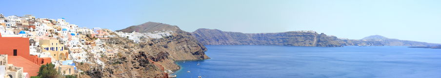 Panorama of Santorini. Santorini is a small, circular archipelago of volcanic islands located in the southern Aegean Sea, about 200 km southeast from Greece's Royalty Free Stock Photography