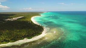 Panorama Saona wyspa, republika dominikańska Dzika plaża i egzot linia brzegowa, widok z lotu ptaka zbiory wideo