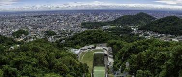 Panorama of Sapporo from Okurayama. Panorama of Sapporo from ski jump Okurayama on Hokaido Japan Stock Photos
