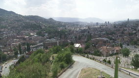 Panorama of Sarajevo with Gazi Husrev mosque Stock Photo