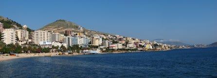 Panorama of Saranda, Albania royalty free stock photos