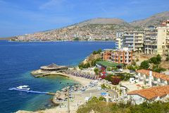 Panorama of Saranda, Albania. Pretty panorama of Saranda town in Albania Stock Photos