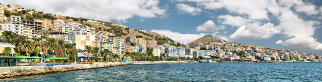 Panorama of Saranda resort city Stock Images