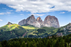 Panorama of Sassolungo mountain peaks Stock Image