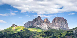 Panorama of Sassolungo mountain peaks Stock Photography