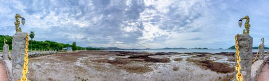 Panorama of Sattahip bay when water level is very low from ebb tide royalty free stock photography