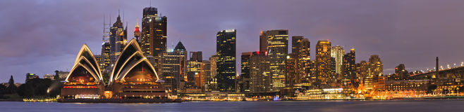 Panorama-Satz Sydneys CBD Kiribilli stockbilder
