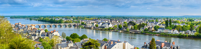 Panorama of Saumur on the Loire river in France. Maine-et-Loire department Royalty Free Stock Photography