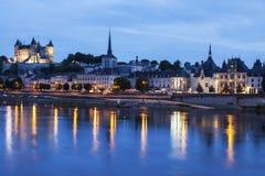 Panorama of Saumur at night Royalty Free Stock Images