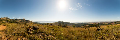 Panorama of Savanna Landscape in Mountains of Swaziland Stock Image