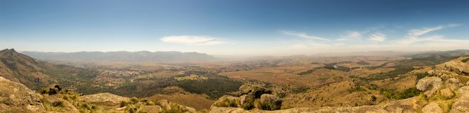 Panorama of Savanna Landscape in Mountains of Swaziland Stock Photos