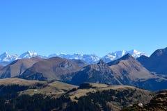 Panorama sbalorditivo sopra le alpi svizzere Fotografia Stock
