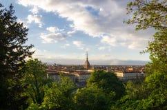 Panorama scénique de Turin avec la taupe Antonelliana Images libres de droits