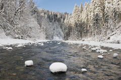 Panorama scene with ice and snow at river in Bavaria Stock Photos