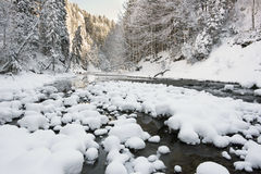 Panorama scene with ice and snow at river in Bavaria Royalty Free Stock Photography
