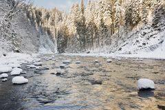Panorama scene with ice and snow at river in Bavaria, Germany Stock Photos