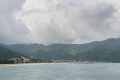 Panorama scene of Lang Co beach, Hue from Hai Van mountain pass at Da Nang, Viet Nam. Royalty Free Stock Photo