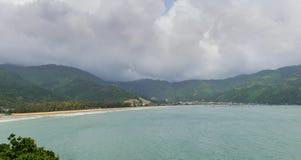 Panorama scene of Lang Co beach, Hue from Hai Van mountain pass at Da Nang, Viet Nam. Royalty Free Stock Image