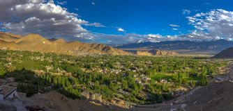 Panorama scene of Leh city at sunset time Stock Images