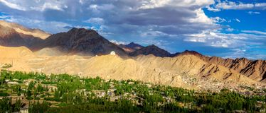 Panorama scene of Leh city at sunset time Royalty Free Stock Photography