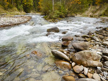 Panorama scene of river Ammer in gorge Stock Photos