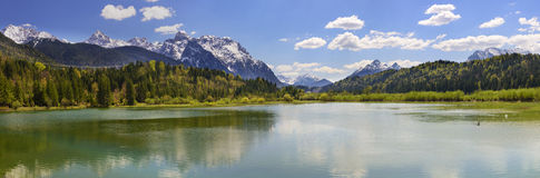 Panorama scene of river Isar with mountains Stock Image