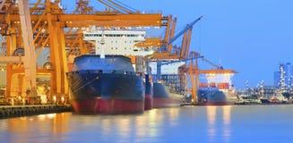 Panorama scene of ship yard with heavy crane in beautiful twilig Royalty Free Stock Photo